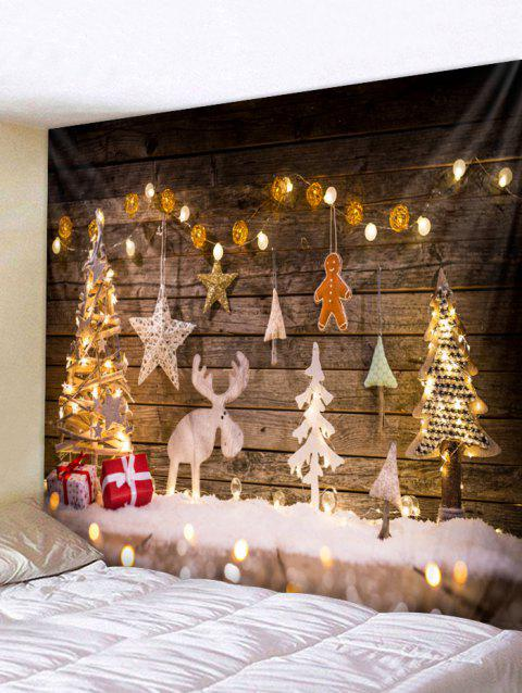 Wood Christmas Tree Elk Tapestry Wall Art Decoration - multicolor W79 INCH * L59 INCH