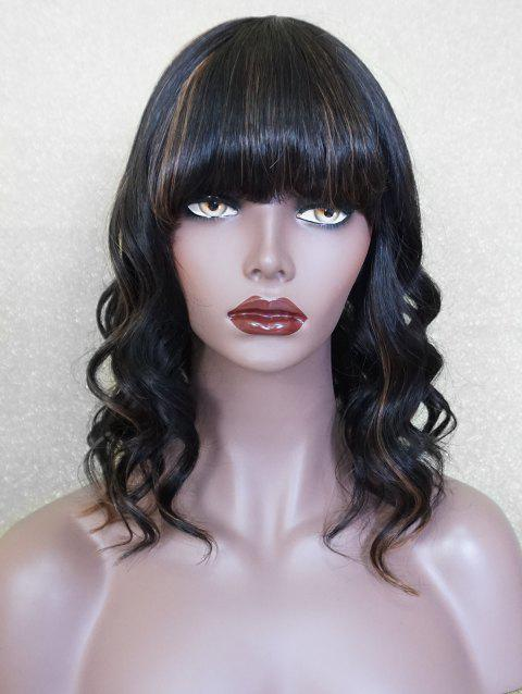 Medium Full Bang Highlighted Wavy Human Hair Wig - multicolor 14INCH