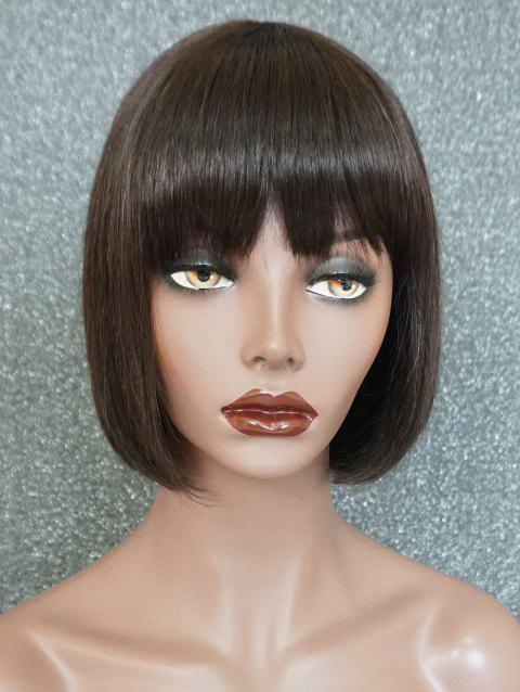 Short Full Bang Straight Bob Capless Human Hair Wig - NATURAL BLACK 10INCH
