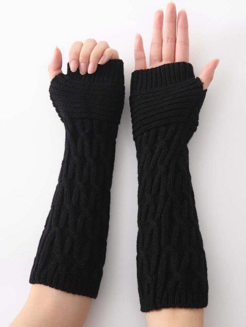 Winter Irregular Striped Knitted Arm Warmers - BLACK