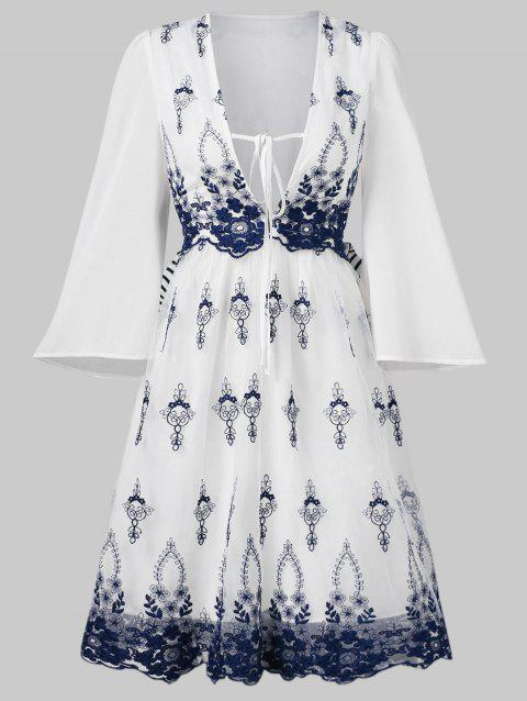 Plunge Embroidered Flare Dress With Tie - WHITE L