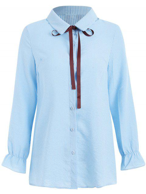Bowknot Flare Sleeve Vertical Striped Shirt - SEA BLUE XL