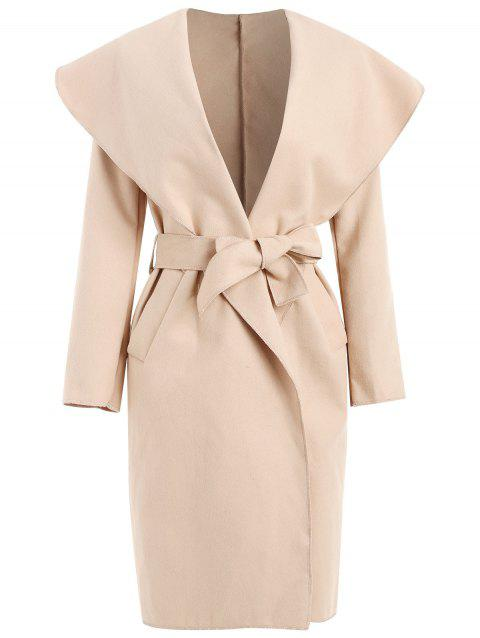 Shawl Collar Belted Coat with Pocket - LIGHT KHAKI L