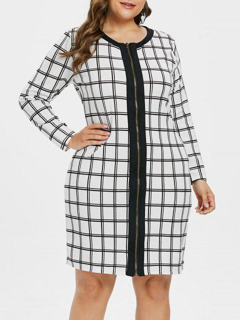 Plus Size Zip Up Plaid Dress - WHITE 3X