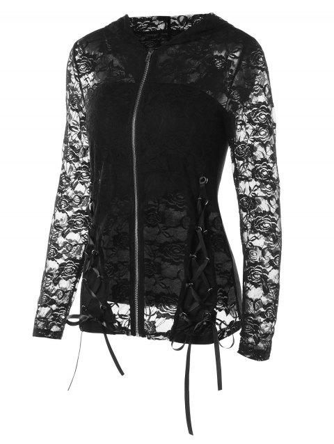 Zip Up Lace Jacket with Tube Top - BLACK M