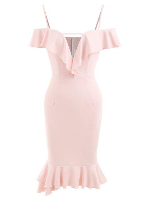 Flounce Trim High Waist Small Fishtail Dress - LIGHT PINK 2XL