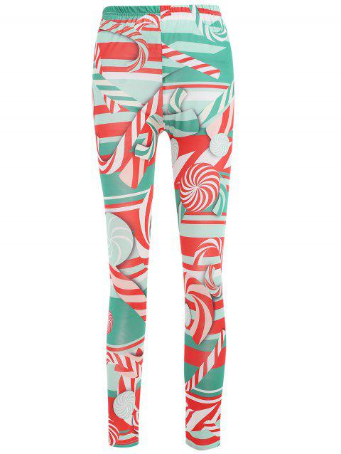 Lollies Print Elastic Waist Leggings - multicolor XL