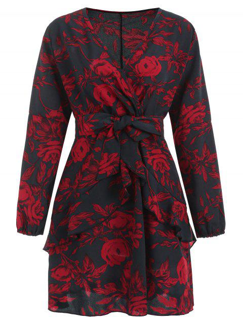 Long Sleeve Floral Print Faux Wrap Dress - multicolor L