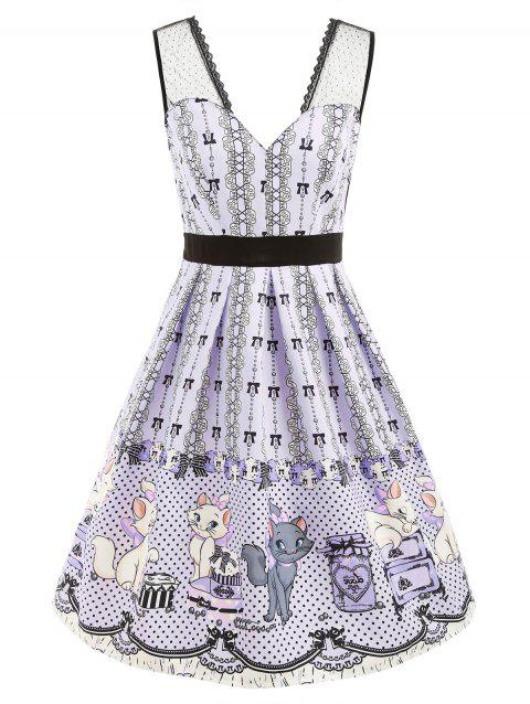 Cartoon Print Lace Panel V Neck Dress - LAVENDER BLUE XL