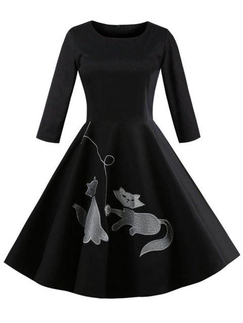 Kitten Embroidery Three Quarter Sleeve Dress - BLACK XL