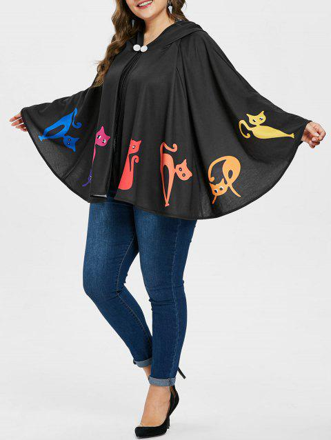Plus Size Hooded Halloween Batwing Coat - BLACK 1X
