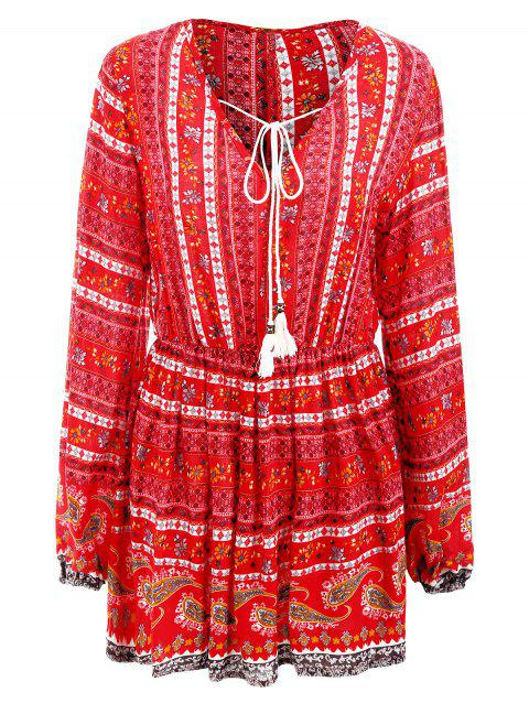 Elastic Waist Long Sleeve Bohemia Print Dress - RED XL