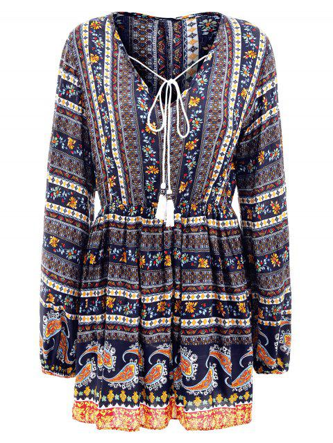 Elastic Waist Long Sleeve Bohemia Print Dress - CADETBLUE M