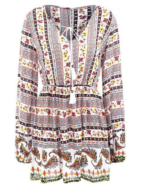 Elastic Waist Long Sleeve Bohemia Print Dress - WHITE M