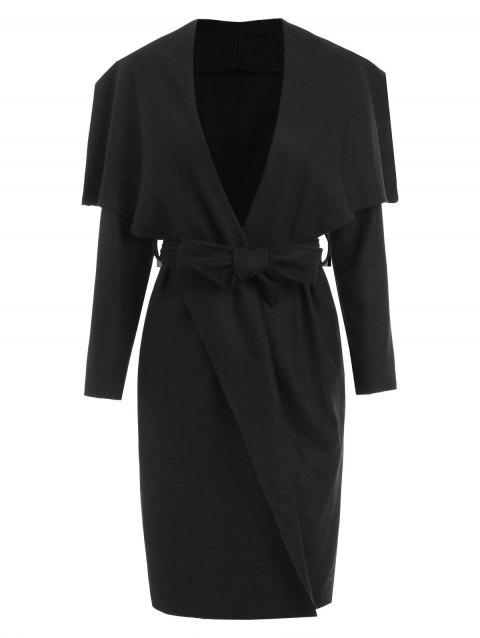 Shawl Collar Belted Long Wrap Coat - BLACK L