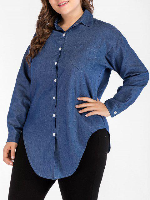 Plus Size Asymmetric Denim Shirt - DENIM DARK BLUE 4X
