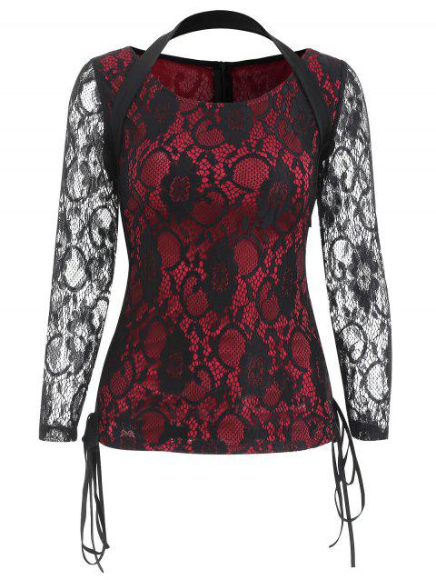 Criss Cross Side Long Sleeve Lace T-shirt - RED WINE S