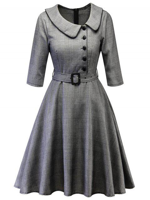 Button Embellished Plaid Vintage A Line Dress - GRAY L