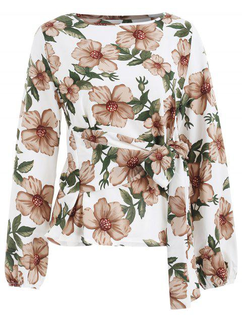 Long Sleeve Tie Waist Floral Blouse - WHITE M