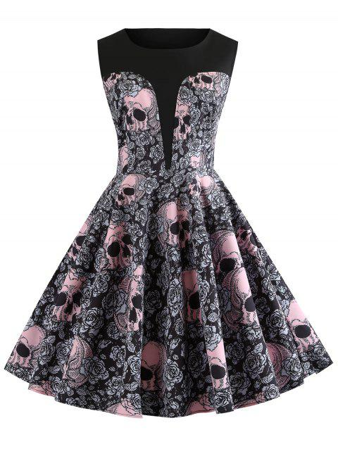 Halloween Round Neck Skull and Floral Print Vintage Dress - BLACK 2XL
