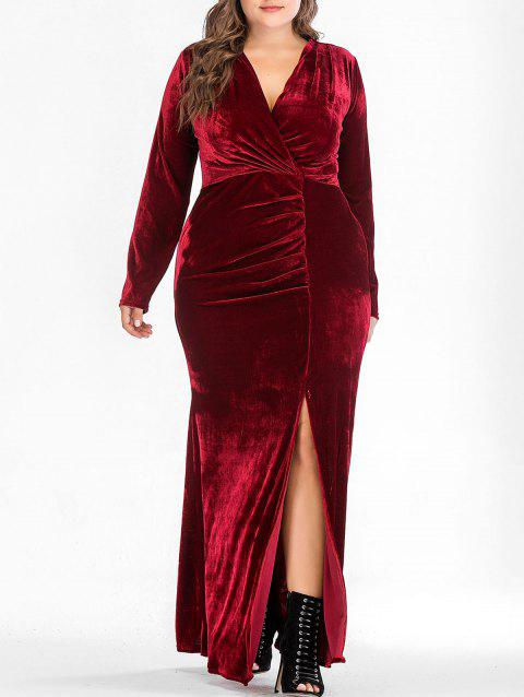 Plus Size Long Sleeve Vevlet Dress - RED WINE 3X
