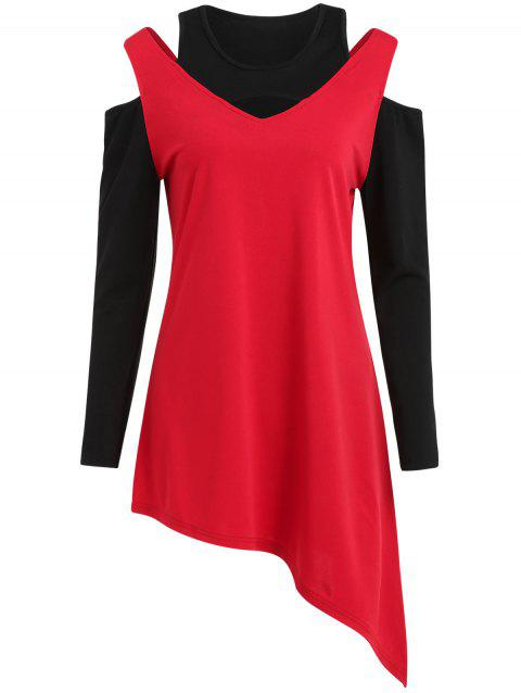 Cut Out Shoulder Long Sleeve Tunic T-shirt - RED S