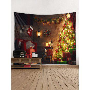 Christmas Tree and Stocking Printed Wall Tapestry - multicolor W91 INCH * L71 INCH