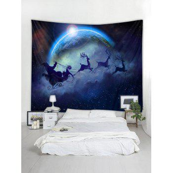 Moon and Santa Claus Pattern Wall Art Tapestry - multicolor W79 INCH * L59 INCH