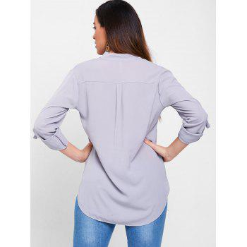 Simple Style Solid Color V-Neck 3/4 Sleeve Chiffon Blouse For Women - GRAY M