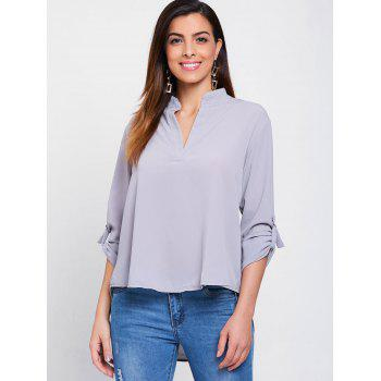Simple Style Solid Color V-Neck 3/4 Sleeve Chiffon Blouse For Women - GRAY L