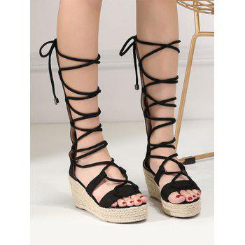 ZAFUL Lace Up Wedge Heel Sandals - BLACK 39