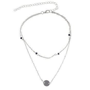 Double Layer Beaded Chain Necklace - SILVER