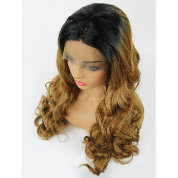 Long Middle Part Ombre Wavy Party Lace Front Synthetic Wig - multicolor 24INCH