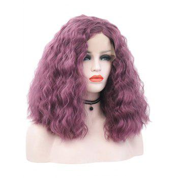 Medium Free Part Natural Wavy Party Lace Front Synthetic Wig - MEDIUM ORCHID 14INCH