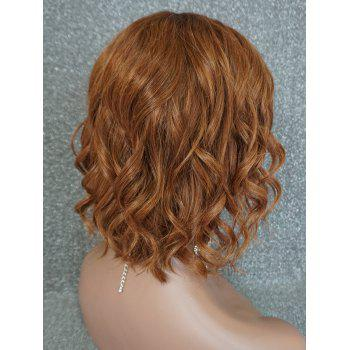 Short Middle Part Wavy Lace Front Human Hair Wig - BROWN 10INCH