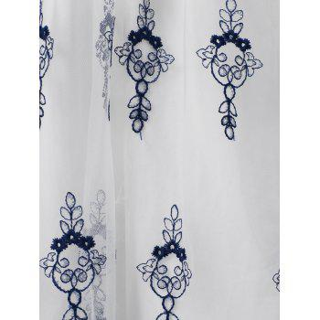 Plunge Embroidered Flare Dress With Tie - WHITE 2XL