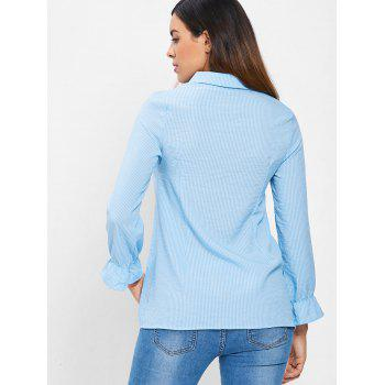 Bowknot Flare Sleeve Vertical Striped Shirt - SEA BLUE M