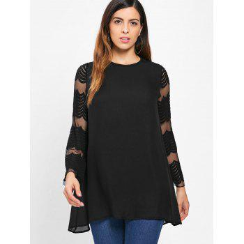 Long Lace Sleeve Tunic Shift Dress - BLACK XL