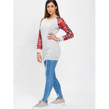 Tartan Pattern Raglan Sleeve Tunic Knitwear - LIGHT GRAY M