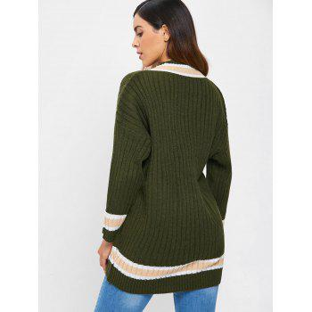 Drop Shoulder Tunic Tennis Sweater - ARMY GREEN ONE SIZE