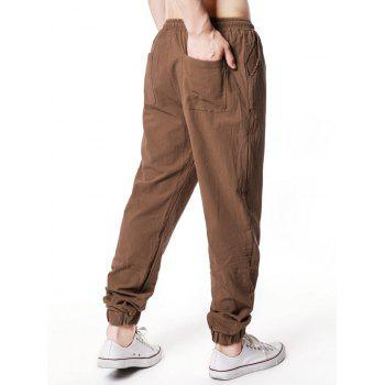 Casual Elastic Waist Jogger Pants - COFFEE L