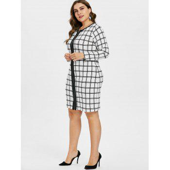 Plus Size Zip Up Plaid Dress - WHITE 2X