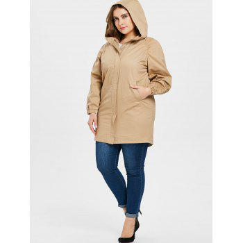 Plus Size Striped Detail Long Coat - LIGHT KHAKI L
