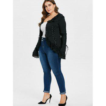 Plus Size Lace Detail Button Up Coat - BLACK 1X