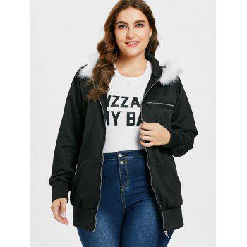 Plus Size Graphic Long Hoodie - BLACK 1X