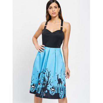 Halloween Black Cats Cross Back Sleeveless Dress - LIGHT BLUE M