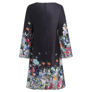 Robe Trapèze Floral à Manches Fendues de Cloche - Noir 2XL