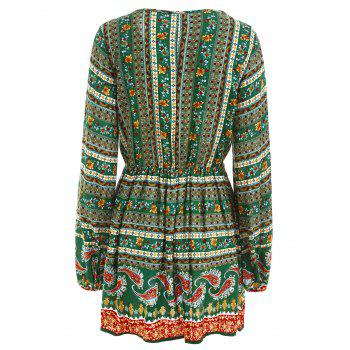 Elastic Waist Long Sleeve Bohemia Print Dress - GREEN S