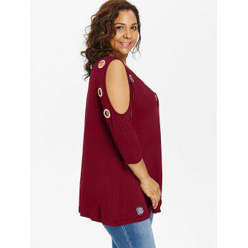 Plus Size Open Shoulder Strappy Embellished T-shirt - RED WINE 1X
