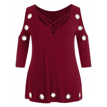 Plus Size Open Shoulder Strappy Embellished T-shirt - RED WINE 4X